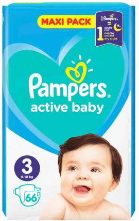Pampers Active Baby Maxi Pack No3 (6- 10 kg), 66 Τεμάχια