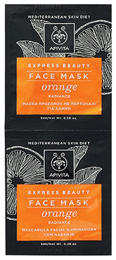 Apivita  Expess Beauty Μάσκα Προσώπου Με Πορτοκάλι, 2x 8ml