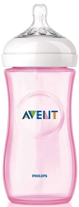 Phillips Avent Natural Πλαστικό Μπιμπερό Ροζ Με Θηλή Μέτριας Ροής SCF697/17, 330ml