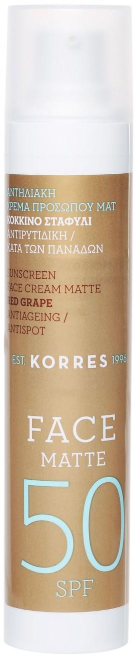 Korres Κόκκινο Σταφύλι Αντηλιακή & Αντιρυτιδική Κρέμα Ματ SPF50, 50ml
