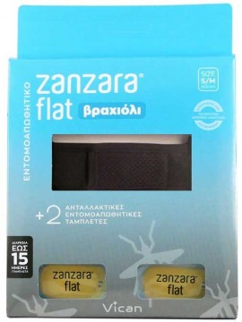 Vican Zanzara Βραχίολι Μάυρο Με Δύο Εντομοαπωθητικές Ταμπλέτες S/M