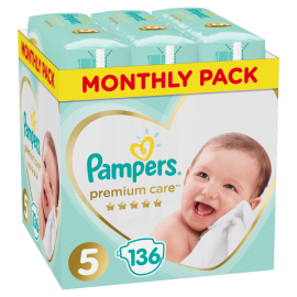 Pampers Monthly Pack Premium Care Νο5 (11-16 kg), 136 Τεμάχια