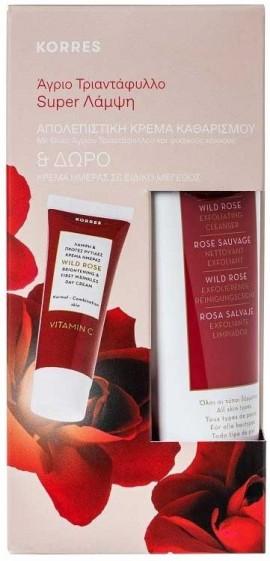 Korres Promo Άγριο Τριαντάφυλλο Απολεπιστική Κρέμα Καθαρισμού 150ml & Άγριο Τριαντάφυλλο Κρέμα Ημέρας 15ml
