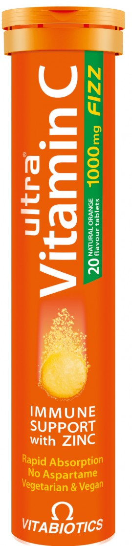 Vitabiotics Ultra Vitamin C 1000mg FIZZ Με Ψευδάργυρο/ Πορτοκάλι, 20 Aναβράζοντα Δισκία