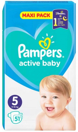Pampers Active Baby Maxi Pack No5 (11- 16 kg), 51 Τεμάχια