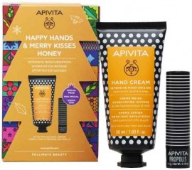 Apivita Set Happy Hands & Merry Kisses Honey Κρέμα Χεριών Εντατικής Ενυδάτωσης με Υαλουρονικό Οξύ & Μέλι 50ml & LipCare Propolis 4.4gr