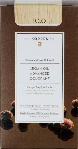 Korres Argan Oil Advanced Colorant 10.0 Ξανθό Πλατίνας Φυσικό, 50ml