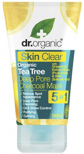 Dr. Organic Skin Clear 5 in 1 Deep Pore Charcoal Mask, 100ml