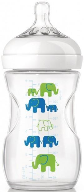 Phillips Avent Natural Πλαστικό Μπιμπέρο Μπλε Ελεφαντάκι Θηλή Αργής Ροής SCF627/17, 260ml