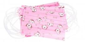 Μάσκες Παιδικές Μιας Χρήσης Κορίτσι Με Λάστιχο Σχέδιο Ρόζ (3Ply), 10 Τεμάχια