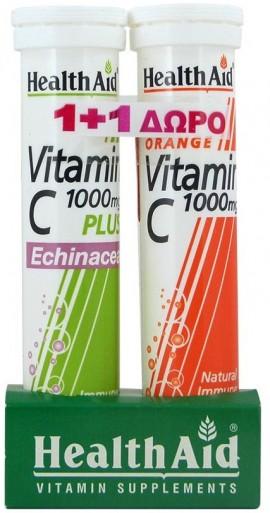 Health Aid Vitamin C 1000mg Plus Echinacea 20 Αναβράζοντα Δισκία & Δώρο Vitamin C 1000mg Πορτοκάλι 20 Αναβράζοντα Δισκία