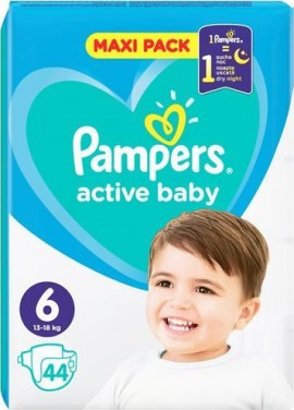 Pampers Active Baby Maxi Pack No6 (13- 18 kg), 44 Τεμάχια