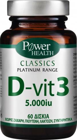 Power Health Platinum D- Vit 3 5000IU, 60 Ταμπλέτες