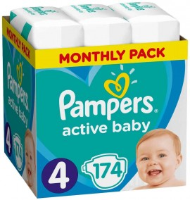 Pampers Monthly Pack Active Baby No4 (9- 14 kg), 174 Τεμάχια