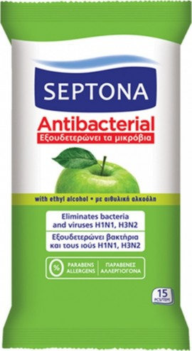 Septona Αντιβακτηριδιακά Μαντηλάκια Για Τα Χέρια Πράσινο Μήλο, 15 Τεμάχια