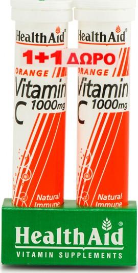 Health Aid Vitamin C 1000mg Πορτοκάλι, 2x 20 Aναβράζοντα Δισκία