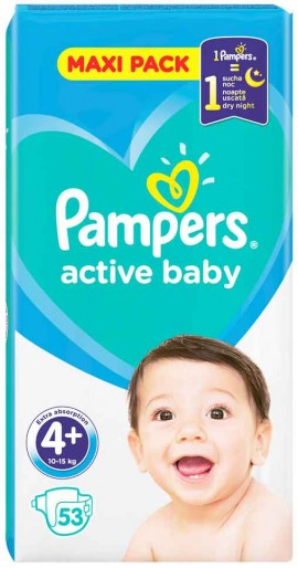 Pampers Active Baby Maxi Pack No4+ (10- 15 kg), 53 Τεμάχια