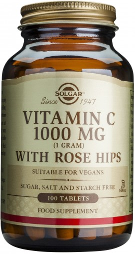 Solgar Vitamin C1000mg With Rose Hips, 100 Ταμπλέτες