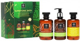 Apivita Set Supertonic Bath Tonic Mountain Tea Shower Gel 300ml & Tonic Mountain Tea Body Milk 200ml & Δώρο Σαμπουάν Χαμομήλι & Μέλι 250ml
