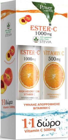 Power Health Vit Ester-C 1000mg Mε Στέβια 24 Αναβράζοντα Δισκία Ροδάκινο & Δώρο Vitamin C 500mg Πορτοκάλι 20 Αναβράζοντα Δισκία
