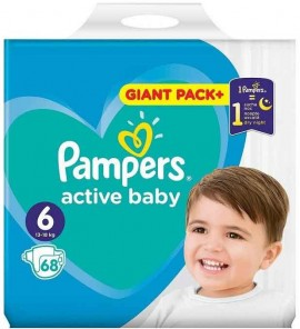 Pampers Active Baby Giant Pack No6 (13- 18 kg), 68 Τεμάχια