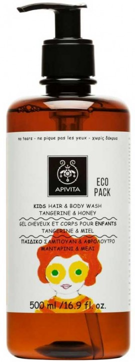 Apivita Kids Hair & Body Wash Σαμπουάν & Αφρόλουτρο με Μανταρίνη & Μέλι, 500ml