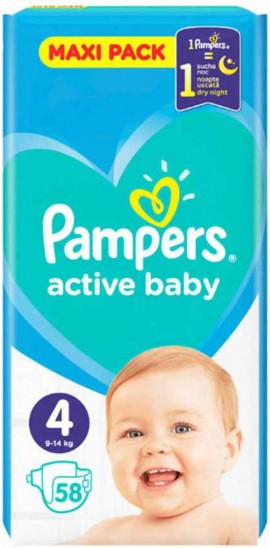 Pampers Active Baby Maxi Pack No4 (9- 14 kg), 58 Τεμάχια