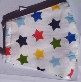 Παιδική Βαμβακερή Μάσκα Με Πολυεστερικό Φίλτρο Πολύχρωμα Αστέρια, 1 Τεμάχιο