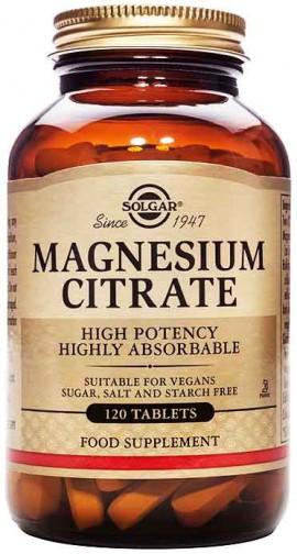 Solgar Magnesium Citrate 200mg, 120 Ταμπλέτες