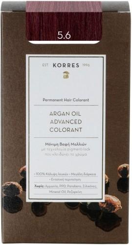 Korres Argan Oil Advanced Colorant 5.6 Kαστανό Ανοιχτό Κόκκινο, 50ml