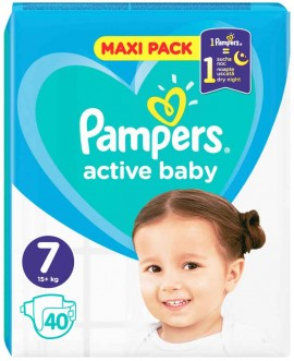 Pampers Active Baby Maxi Pack No7 (15+ kg), 40 Τεμάχια