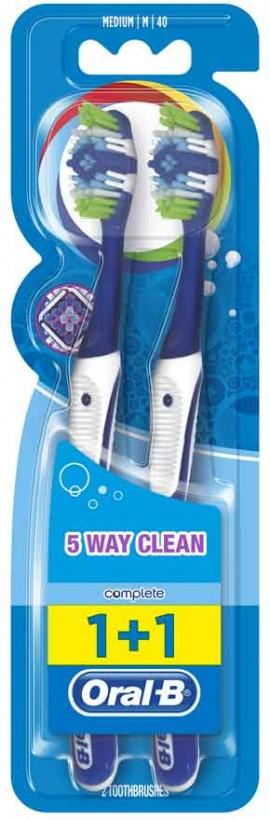 Oral-B Complete 5 Way Clean 40 Medium Μπλέ, 1+1 Δώρο