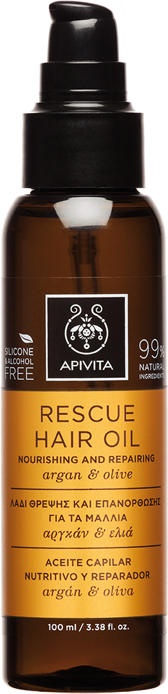 Apivita Rescue Hair Oil Nouring & Rerairing με Aργκάν & Ελιά,100ml