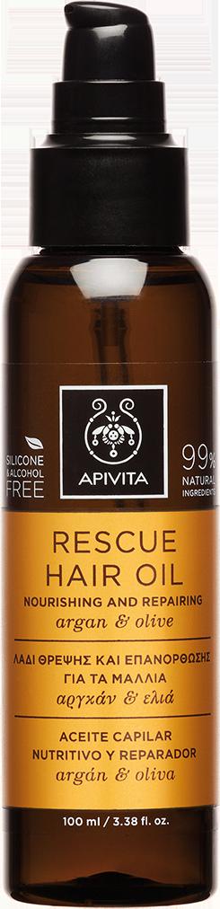 Apivita Rescue Hair Oil Nouring & Rerairing με Aργκάν & Ελιά,100ml