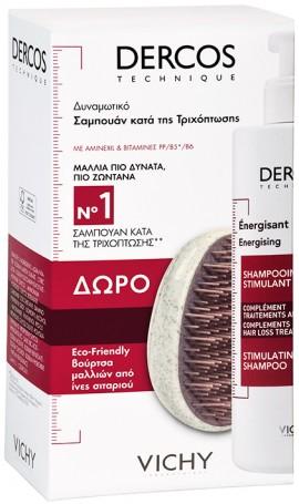 Vichy Promo Dercos Energisant Shampoo 400ml & Δώρο Βούρτσα Μαλλιών Από Ίνες Σιταριού