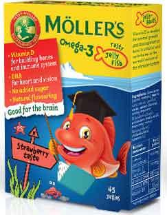 Möller's Omega 3 Kids Γεύση Φράουλα, 36 Ζελεδάκια- Ψαράκια