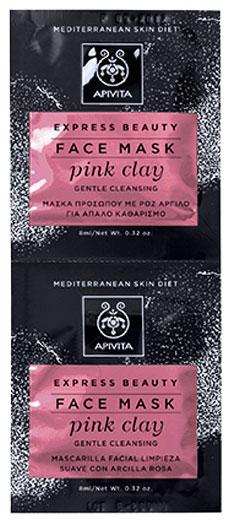 Apivita Express Beauty Μάσκα Προσώπου Με Ροζ Άργιλο,2x8ml
