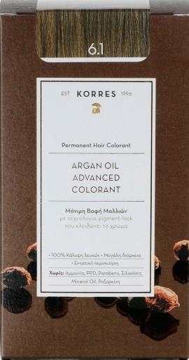 Korres Argan Oil Advanced Colorant 6.1 Ξανθό Σκούρο Σαντρέ, 50ml
