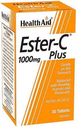 Health Aid Ester C Plus 1000mg, 30 Ταμπλέτες