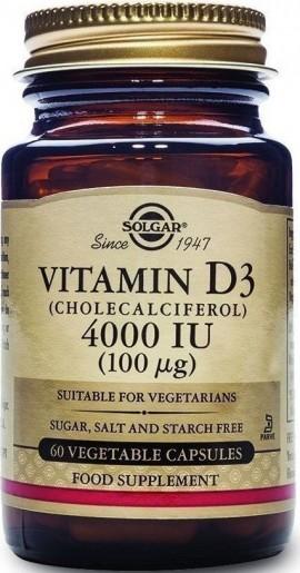 Solgar Vitamin D3 4000IU, 60 Κάψουλες