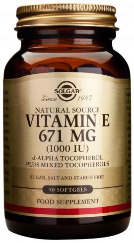 Solgar Vitamin E671mg 1000IU, 50 Κάψουλες