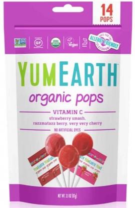 YumEarth Organic Pops Vitamin C Βιολογικά Γλειφιτζούρια Φρούτων με Βιταμίνη C, 14 Τεμάχια