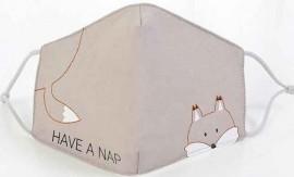 Παδική Βαμβακερή Μάσκα Με Ρυθμιζόμενο Λαστιχάκι Αλεπού, 1 Τεμάχιο