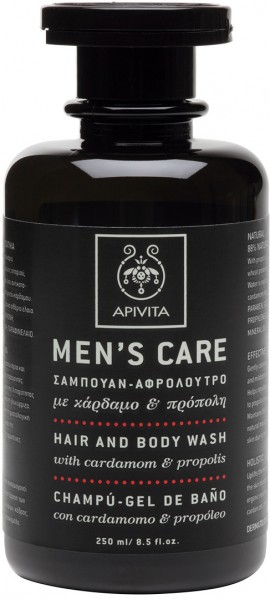 Apivita Mens Care Σαμπουάν & Αφρόλουτρο Με Κάρδαμο & Πρόπολη,250ml