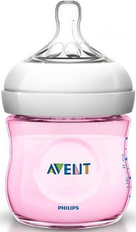 Phillips Avent Natural Πλαστικό Μπιμπερό Ροζ Με Θηλή Για Νεογνά SCF691/17, 125ml